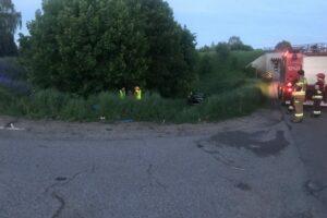 Miejsce wypadku z udziłem motocyklisty
