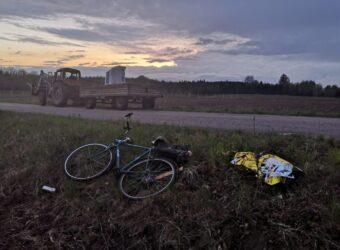 miejsce potrącenia rowerzysty przez ciągnik